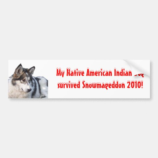Snowmageddon Native American Indian Dog Bumper Stickers