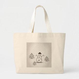 snowman2 bolsa de tela grande