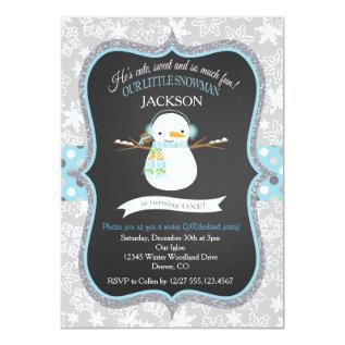 Snowman 1st Birthday Winter Onederland Invitation at Zazzle