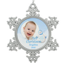 Snowman 1st Christmas Custom Photo Snowflake Pewter Christmas Ornament