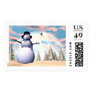 Snowman - 3D render Postage