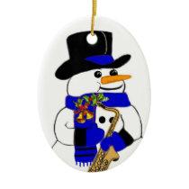 Snowman #7 ceramic ornament