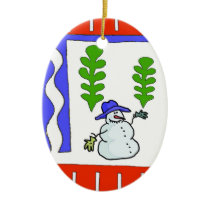 Snowman Abstract Ceramic Ornament