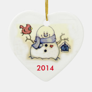 Snowman and Bird 2014 Heart Ornament