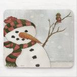 Snowman and Bird Mousepad