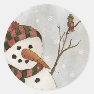 Snowman and Bird Sticker