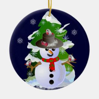 Snowman and birdies ornament