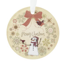 Snowman and Birds Merry Christmas Wreath Ornament