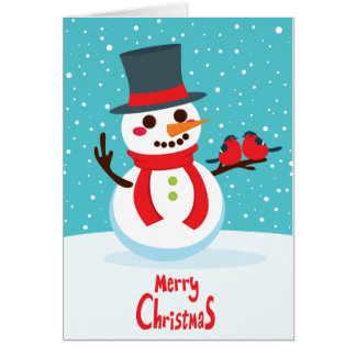 Snowman and Birds Stationery Note Card