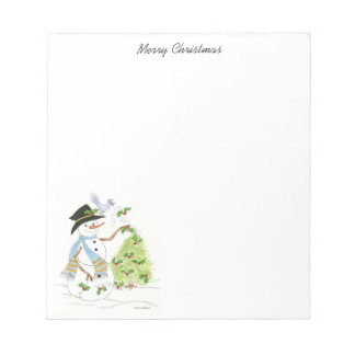 Snowman and Bluebird Holiday note pad