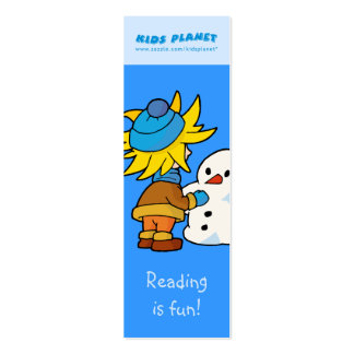 Snowman and boy bookmark business card template