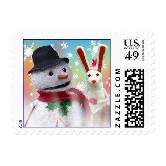 Snowman and Bunny Stamp