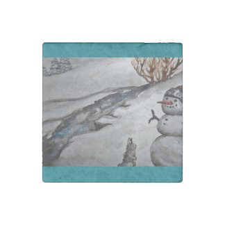 Snowman and Bunny Stone Magnet