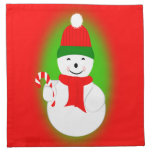 Snowman and Candy Cane Cloth Napkins