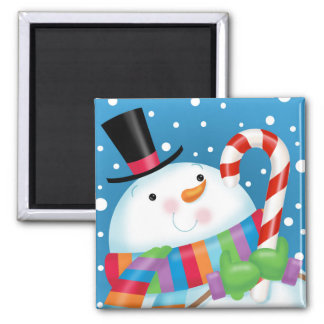 Snowman and Candy Cane magnet