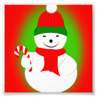 Snowman and Candy Cane Photograph