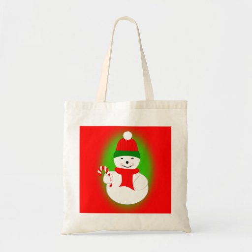 Snowman and Candy Cane Tote Bag