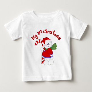 Snowman and Candycane 1st Christmas Baby T-Shirt