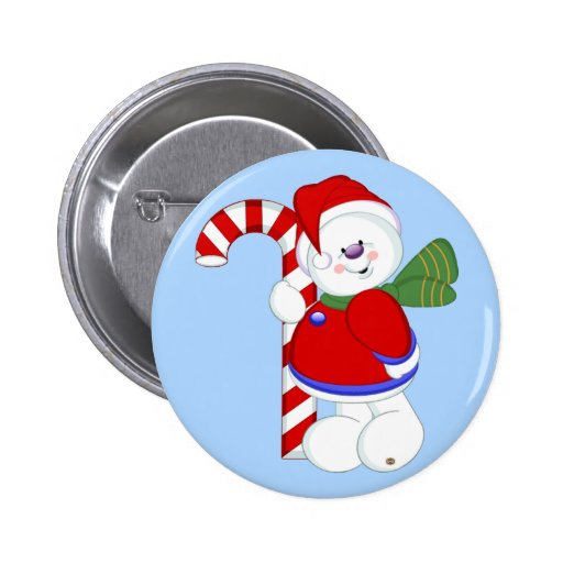 Snowman and Candycane Buttons