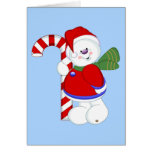 Snowman and Candycane Greeting Card