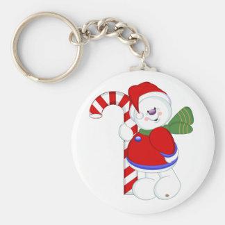 Snowman and Candycane Keychain