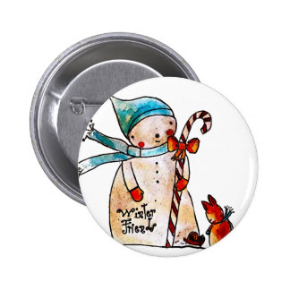 Snowman and Candycane Pinback Button