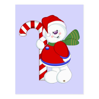 Snowman and Candycane Postcard