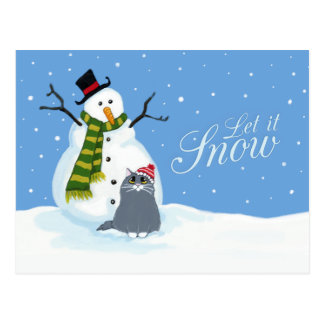 Snowman and Cat | Let it Snow Christmas Postcards