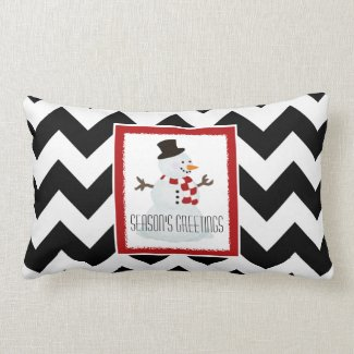 Snowman and Chevron Throw Pillow 2
