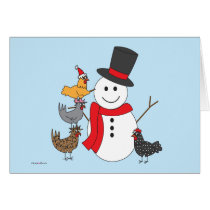 Snowman and Chickens Card