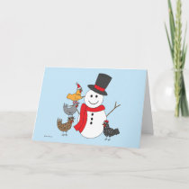 Snowman and Chickens Holiday Card