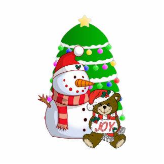 Snowman And Christmas Bear Acrylic Cut Out