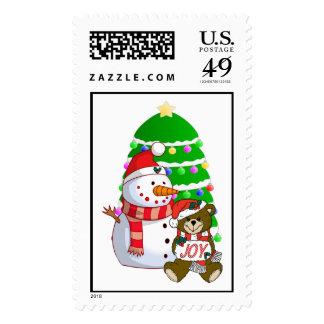 Snowman And Christmas Bear Postage Stamp