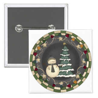 Snowman and Christmas Tree 2 Inch Square Button