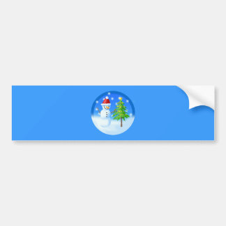 Snowman and Christmas Tree Bumper Sticker