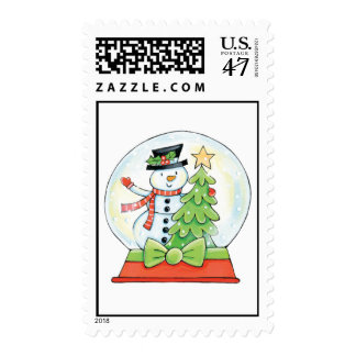 Snowman and Christmas Tree in a Snow Globe Postage