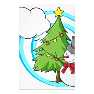 Snowman and Christmas tree Stationery