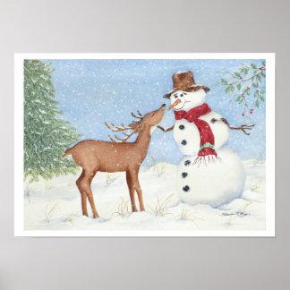 Snowman and Deer Friend - Christmas Print