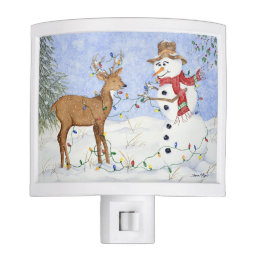 Snowman and Deer Friend - Night Light