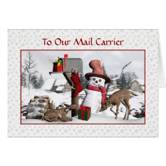 Snowman and Deer Happy Holidays To Mail Carrier Card