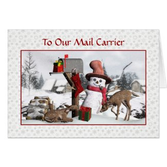 Snowman and Deer Happy Holidays To Mail Carrier