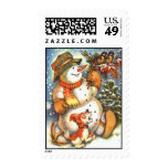 Snowman and Dog Stamps