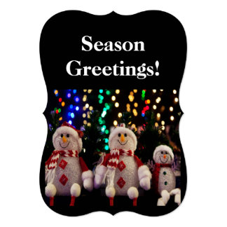 Snowman and Family Ornaments on Tree Flat Card