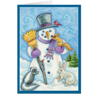 Snowman and Friends Retro Christmas Card