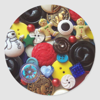 Snowman and Gingerbread Men Buttons Classic Round Sticker