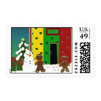 Snowman and Gingerbread Scene Postage