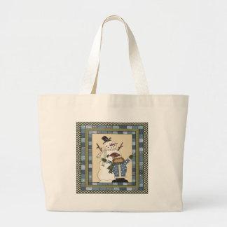 Snowman and Girl Jumbo Tote Bag