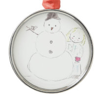 Snowman and Girl Metal Ornament