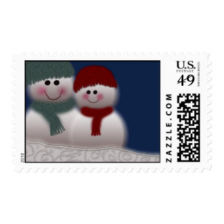 Snowman and girlfriend postage stamp