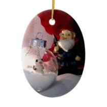 Snowman and Gnome Ceramic Ornament
